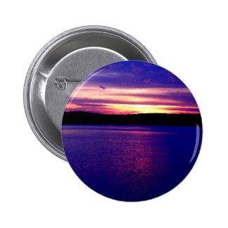 Beautiful Purple Lake Sunset Buttons