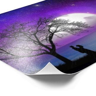 Beautiful purple love night photo print