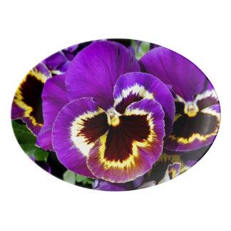 Beautiful purple pansy flower porcelain serving platter