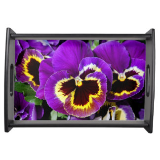 Beautiful purple pansy flower serving tray
