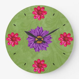Beautiful Purple, Pink and Green Flower Clock