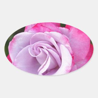 Beautiful purple rose print oval sticker