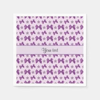 Beautiful Purple Satin Bows Paper Napkin