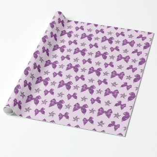 Beautiful Purple Satin Bows Wrapping Paper