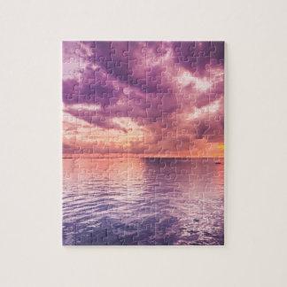 Beautiful Purple sunset at Cebu City, Philippines Jigsaw Puzzle