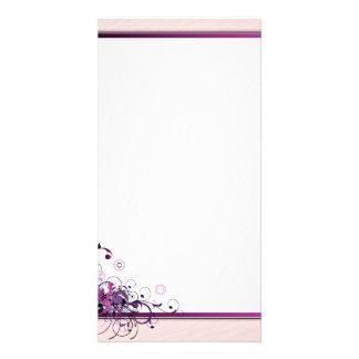 Beautiful purple swirls and blossom customized photo card