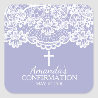 Beautiful Purple Vintage Lace Confirmation Sticker