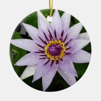 Beautiful Purple Water Lily Round Ceramic Decoration