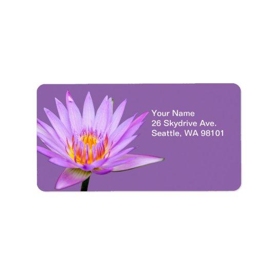 Beautiful Purple Water Lily Label