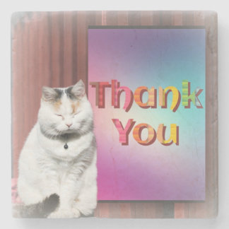 Beautiful Pussycat Says ThankYou on Marble Coaster Stone Coaster