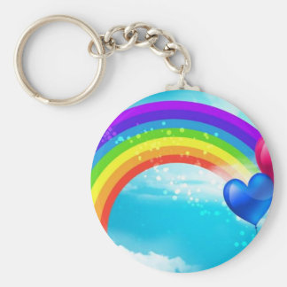 Beautiful Rainbow Basic Round Button Key Ring
