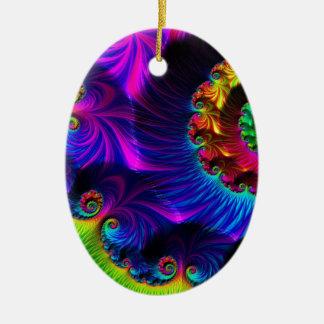 Beautiful Rainbow Fractal Ceramic Oval Decoration