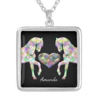 Beautiful Rainbow Horses and Heart Silver Plated Necklace
