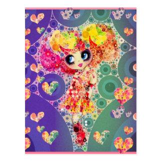 Beautiful Rainbow KAWAII Girl PinkyP Harajuku Postcard