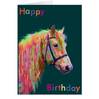 Beautiful Rainbow Pony Birthday Card