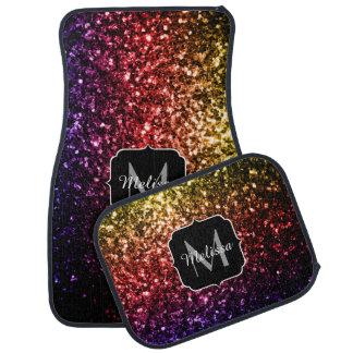 Beautiful Rainbow sparkles Monogram Car Mat