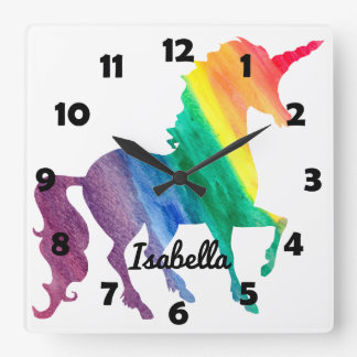 Beautiful Rainbow Unicorn Personalized Kids Girly Clocks
