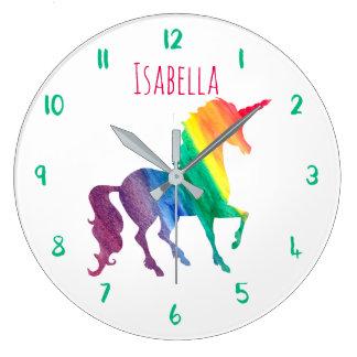 Beautiful Rainbow Unicorn Personalized Kids Girly Large Clock