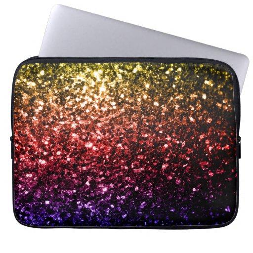 Beautiful rainbow yellow red purple sparkles laptop computer sleeves