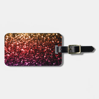 Beautiful rainbow yellow red purple sparkles luggage tag