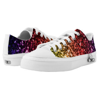 Beautiful Rainbow yellow red purple sparkles Printed Shoes