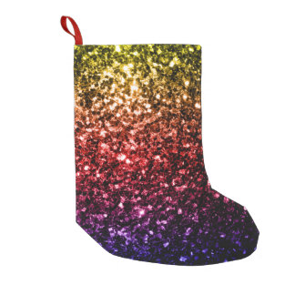 Beautiful Rainbow yellow red purple sparkles Small Christmas Stocking