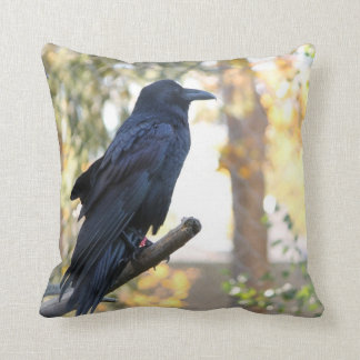 Beautiful Raven Perched On Branch Throw Pillow