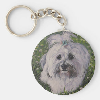 Beautiful Realistic Havanese Dog Art Painting Key Ring