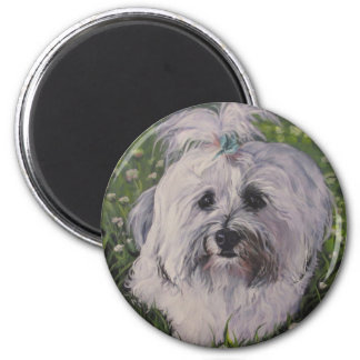 Beautiful Realistic Havanese Dog Art Painting Magnet