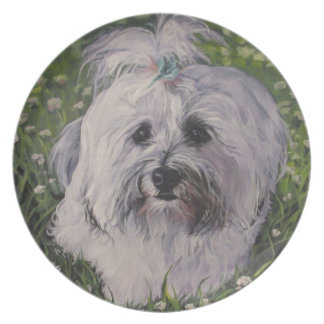 Beautiful Realistic Havanese Dog Art Painting Plate