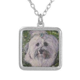 Beautiful Realistic Havanese Dog Art Painting Silver Plated Necklace