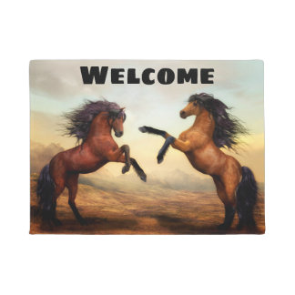Beautiful Rearing Buckskin and Bay Horses Doormat