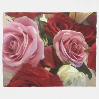 Beautiful Red and Pink Roses Close Up Print Fleece Blanket