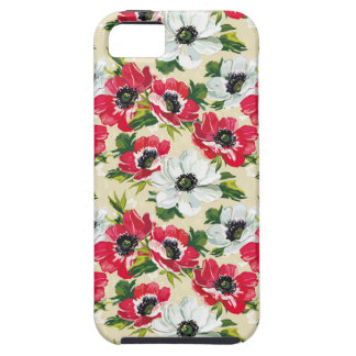 Beautiful red and white poppies on cream yellow case for the iPhone 5