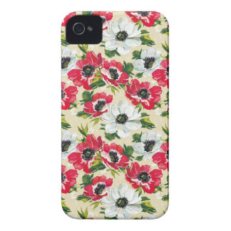 Beautiful red and white poppies on cream yellow iPhone 4 cases