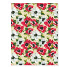Beautiful red and white poppies on cream yellow postcard