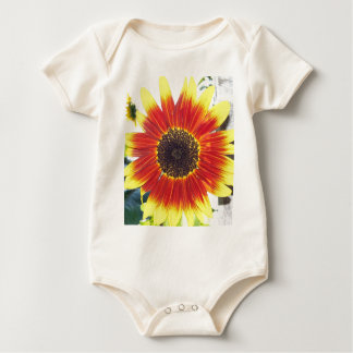 Beautiful Red and Yellow Sunflower Baby Bodysuit