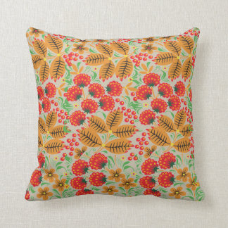 Beautiful Red Berries-&-Leaves Cotton Throw Pillow