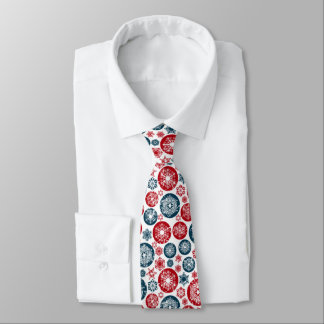 Beautiful Red-Blue Chistmas balls and Snowflakes Tie