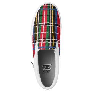 Beautiful Red, Blue, green tartan plaid design Slip-On Shoes