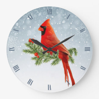 Beautiful red cardinal bird on snow background large clock