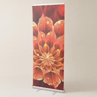 Beautiful Red Dahlia Fractal Flower in Bokeh Retractable Banner
