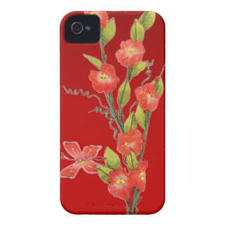 Beautiful red flowers & butterfly Case-Mate iPhone 4 case