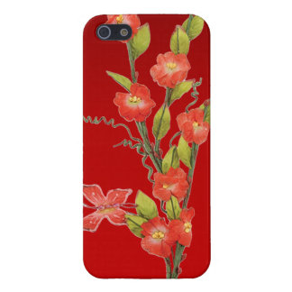 Beautiful red flowers & butterfly cases for iPhone 5