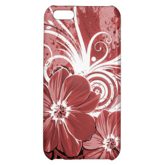 Beautiful red Flowers Swirl abstract vectror art Case For iPhone 5C