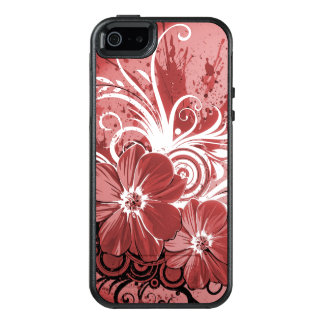 Beautiful red Flowers Swirl abstract vectror art OtterBox iPhone 5/5s/SE Case