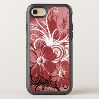 Beautiful red Flowers Swirl abstract vectror art OtterBox Symmetry iPhone 8/7 Case