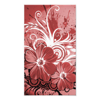 Beautiful red Flowers Swirl abstract vectror art Photo Print