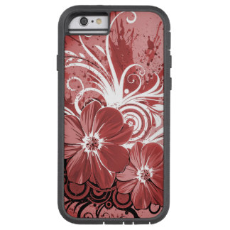 Beautiful red Flowers Swirl abstract vectror art Tough Xtreme iPhone 6 Case