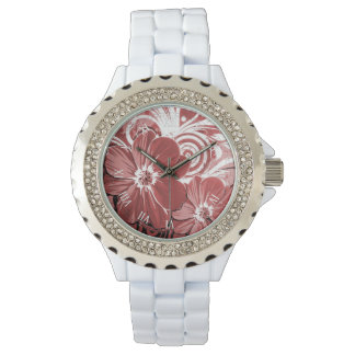 Beautiful red Flowers Swirl abstract vectror art Watch